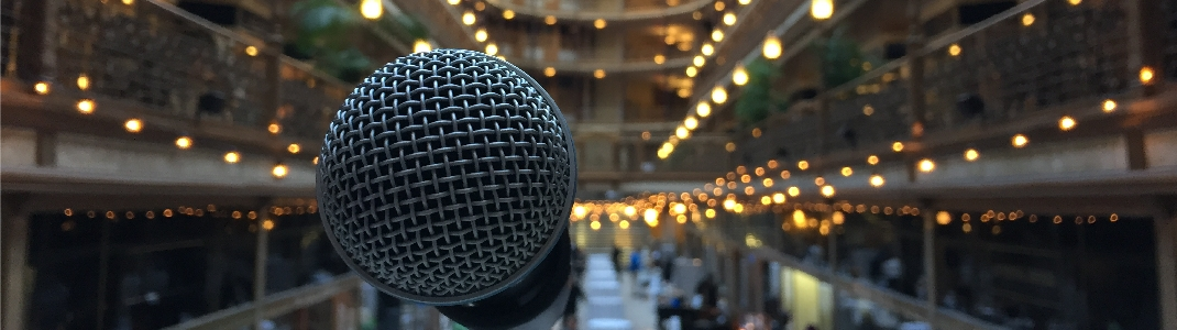 event microphone at arcade
